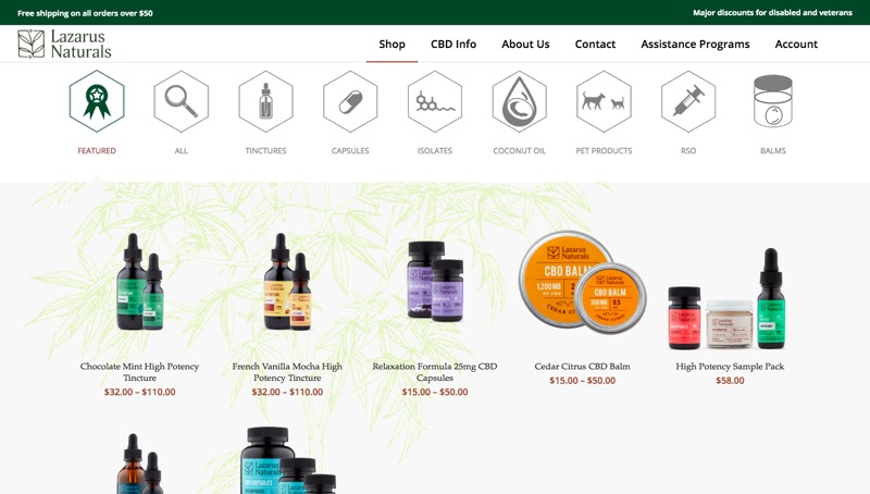 Screenshot of the Lazarus Naturals web store that highlights strange navigation experience